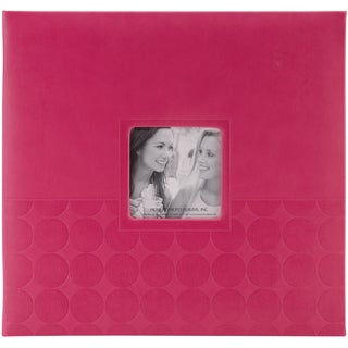 "Embossed Post Bound Scrapbook Album 12""X12""-Pink Circles"