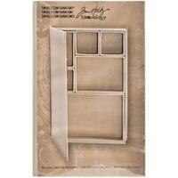 "Tim Holtz Idea-Ology Configurations Mini Chipboard Shadow Box Book-6""X9"", 6 Compartments"