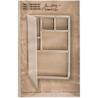 "Tim Holtz Idea-Ology Configurations Mini Chipboard Shadow Box Book-6""X9"", 6 Compartments"