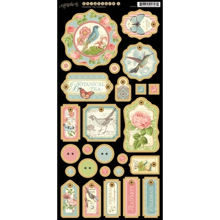 "Botanical Tea Chipboard Die-Cuts 6""X12"" Sheet-Tags #1"