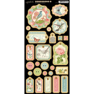 "Botanical Tea Chipboard Die-Cuts 6""X12"" Sheet-Tags #1