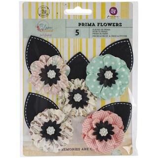 "Bloom Flowers-Paper One Of A Kind 3"" W/Leaf 5/Pkg"