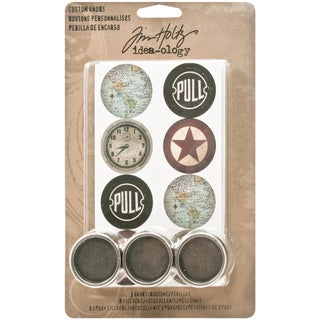 "Idea-ology Custom Metal Knobs 1.25"" 3/Pkg-With Cardstock & Epoxy Stickers/8 Each"