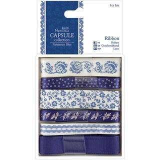 Papermania Parisienne Blue Ribbon-6 Styles/1m Each