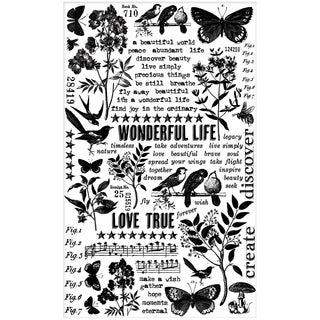 "Tim Holtz Idea-ology Remnant Rubs Rub-Ons 4.75""X7.75"" Sheets 2/Pkg-Botanical"