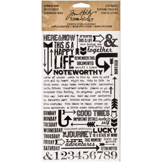 "Tim Holtz Idea-ology Remnant Rubs Rub-Ons 4.75""X7.75"" Sheets 2/Pkg-Life Quotes"