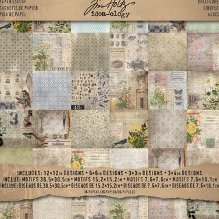 "Tim Holtz Idea-ology Paper Stash Paper Pad 12""X12"" 36/Sheets-Double-Sided Wallflower"