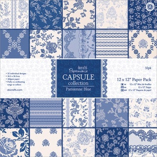 "Papermania Parisienne Blue Paper Pack 12""X12"" 32/Sheets"
