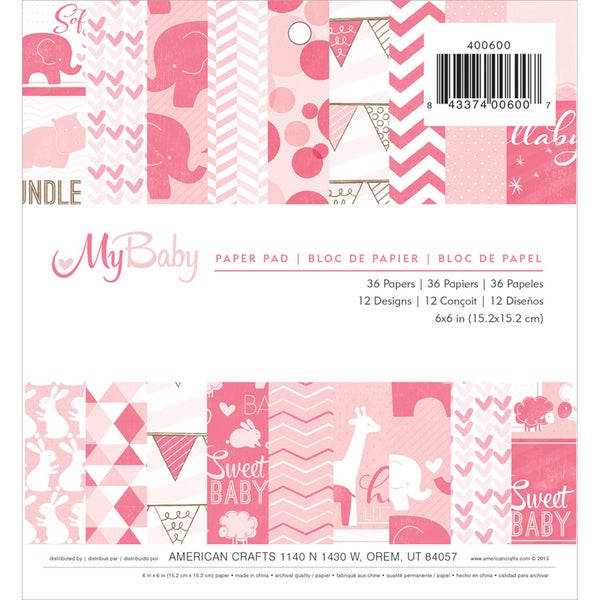 """My Baby Girl Paper Pad 6""""X6"""" 36/Sheets-Single-Sided"""