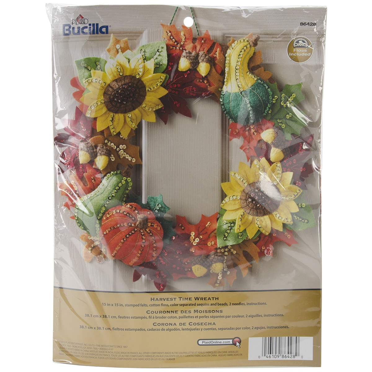 "Bucilla Harvest Time Wreath Felt Applique Kit-15"" Round (..."
