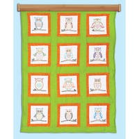 "Themed Stamped White Quilt Blocks 9""X9"" 12/Pkg-Owls"