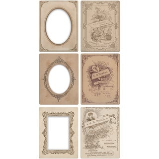"Tim Holtz Idea-ology Mini Cabinet Cards Frames 3.25""X4.25"" 6/Pkg"