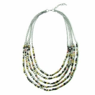 Handmade Ombre Metallic Tiered Necklace (India)