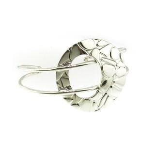 Handmade Sterling Silver Cobblestone Circle Cuff Bracelet (Mexico)