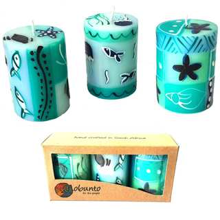 Set of Three Boxed Handmade Mini-Pillar Candles with Samaki Design (Set of 3) (South Africa)
