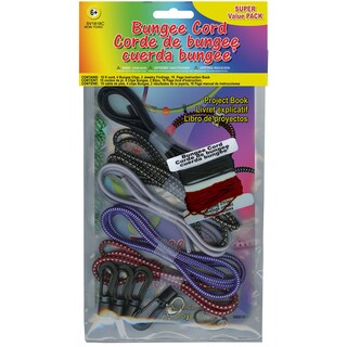 Bungee Cord Super Value Pack 5 Colors/Pkg 15' Total-Blue And Red