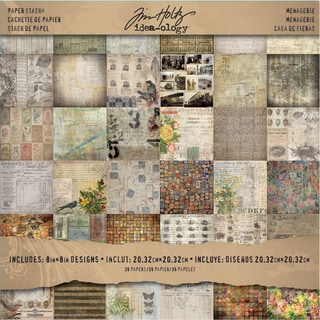 "Tim Holtz Idea-ology Paper Stash Paper Pad 8""X8"" 36/Sheets-Double-Sided Menagerie"