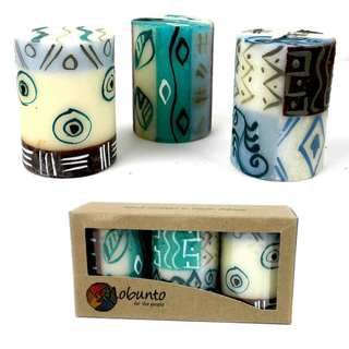 Set of Three Boxed Hand-painted Mini-Pillar Candles with Maji Design (South Africa)