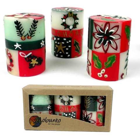 Christmas Handmade Votive Candles with Ukhisimui Design, Set of 3 (South Africa)