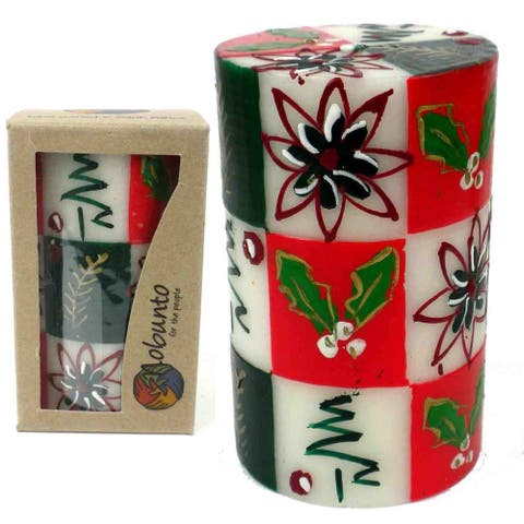Christmas Handmade Boxed Hand Painted Unscented Pillar Candle - Ukhisimusi Design (South Africa)
