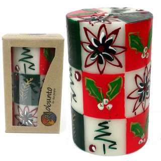 Handmade Boxed Hand Painted Unscented Pillar Candle - Ukhisimui (Christmas) Design (South Africa)