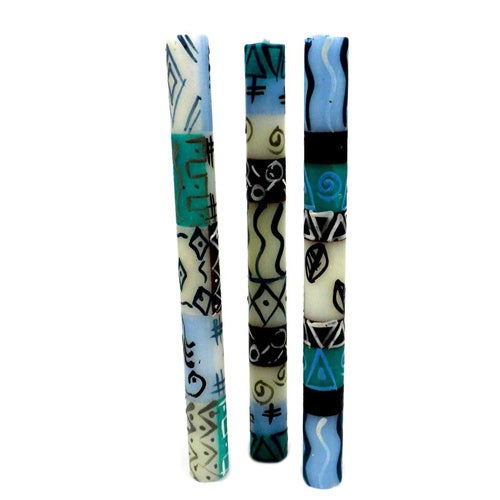 Set of Three Boxed Handmade Taper Candles with Maji Design (Set of 3) (South Africa)
