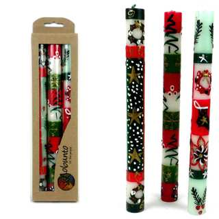 Handmade Boxed Hand-painted Taper Candles with Ukhisimui (Christmas) Design, Set of 3, (South Africa)