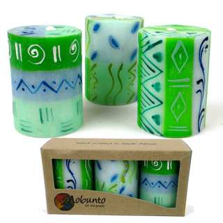 Set of Three Boxed Hand-painted Mini-Pillar Candles with Farih Design (South Africa)
