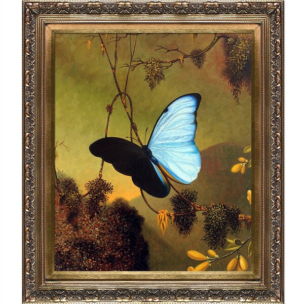 e5bd5b4a6 Martin Johnson Heade 'Blue Morpho Butterfly' Hand Painted Framed