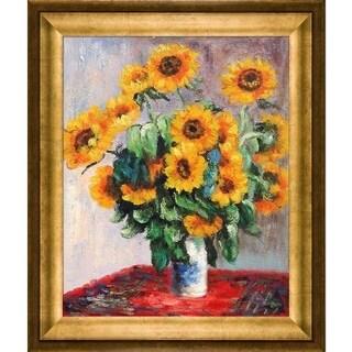 Claude Monet 'Sunflowers' Hand Painted Framed Canvas Art