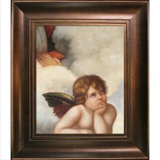 Raphael 'Madonna Sixtina (cherub detail)' Hand Painted Framed Canvas Art
