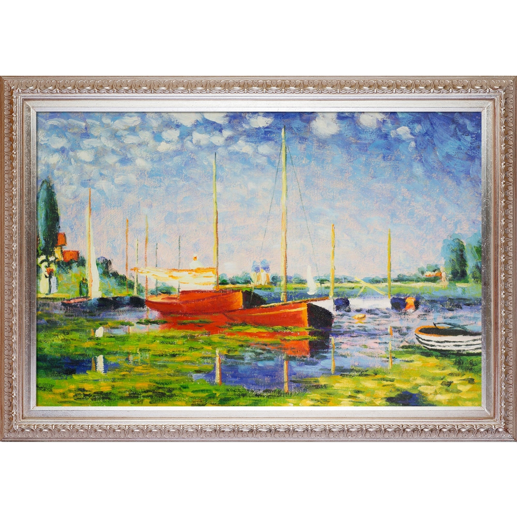 Claude Monet Red Boats At Argenteuil Hand Painted Framed Canvas Art On Sale Overstock 9058135