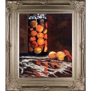 Claude Monet 'Jar of Peaches' Hand Painted Framed Canvas Art
