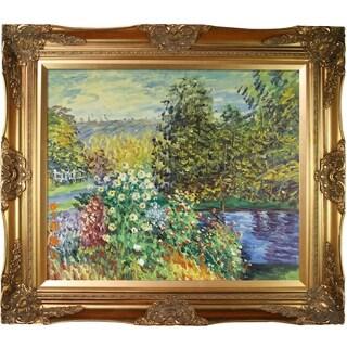 Claude Monet 'Corner of the Garden at Montgeron' Hand Painted Framed Canvas Art