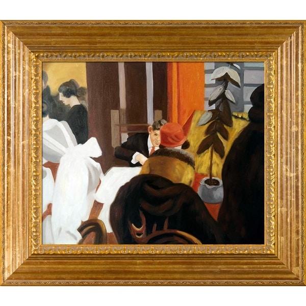 Edward Hopper 'New York Restaurant' Hand Painted Framed Canvas Art