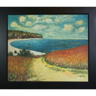 Claude Monet 'Meadow Road to Pourville, 1882' Hand Painted Framed Canvas Art