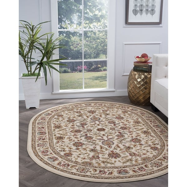 Alise Rugs Lagoon Traditional Oriental Oval Area Rug - 5'3 x 7'3