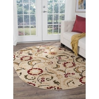 Alise Lagoon Oval Transitional Area Rug - 5'3 x 7'3