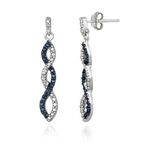 c422d6418 DB Designs Sterling Silver Blue Diamond Accent Infinity Dangle Earrings