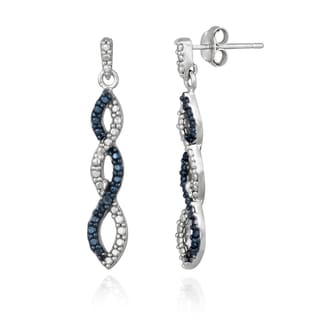 DB Designs Sterling Silver Blue Diamond Accent Infinity Dangle Earrings