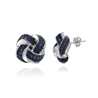 DB Designs Sterling Silver Blue Diamond Accent Love Knot Earrings