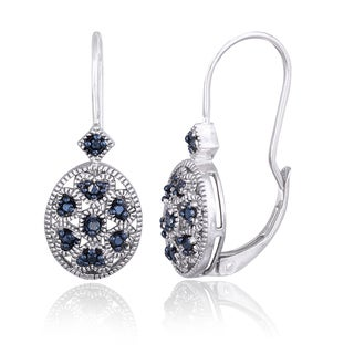 DB Designs Sterling Silver Blue Diamond Accent Filigree Oval Leverback Earrings