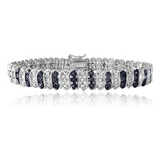 DB Designs Sterling Silver Blue Diamond Accent Tennis Bracelet