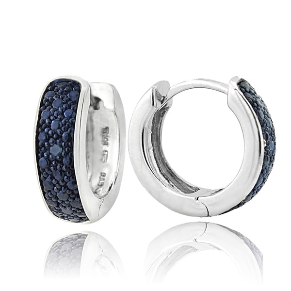 DB Designs Sterling Silver Blue Diamond Accent Mini Hoop Earrings
