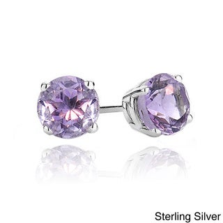 Glitzy Rocks Sterling Silver or Gold over Silver 2ct Amethyst 6mm Stud Earrings