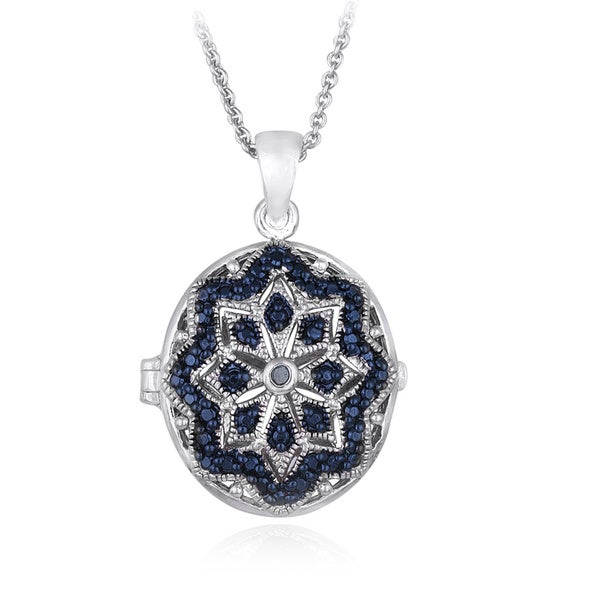 DB Designs Silvertone Blue Diamond Accent Star Design Oval Locket Necklace