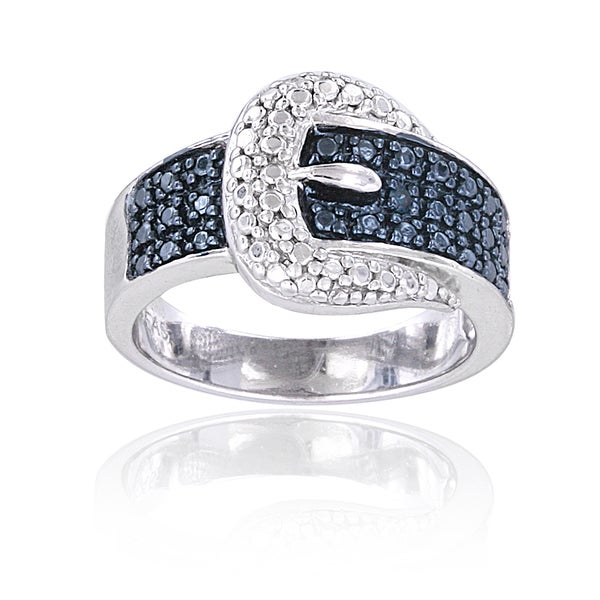 DB Designs Sterling Silver Blue Diamond Accent Buckle Ring