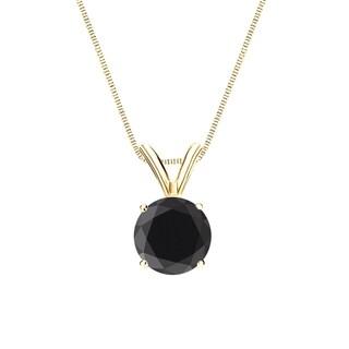 Auriya 14k Gold 1 Carat TDW Round Solitaire Black Diamond Necklace
