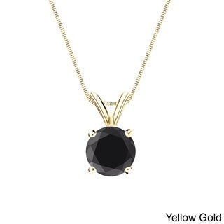 Auriya 14k Gold 3/4ct TDW Black Round Diamond Solitaire Necklace