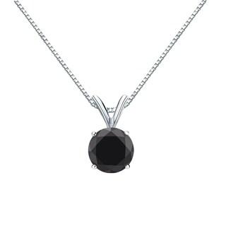 Auriya 14k Gold 1/2ct TDW Black Round Diamond Solitaire Necklace